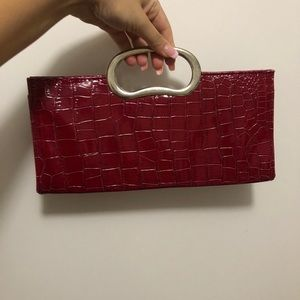 Red Vintage Magnetic Closure Clutch